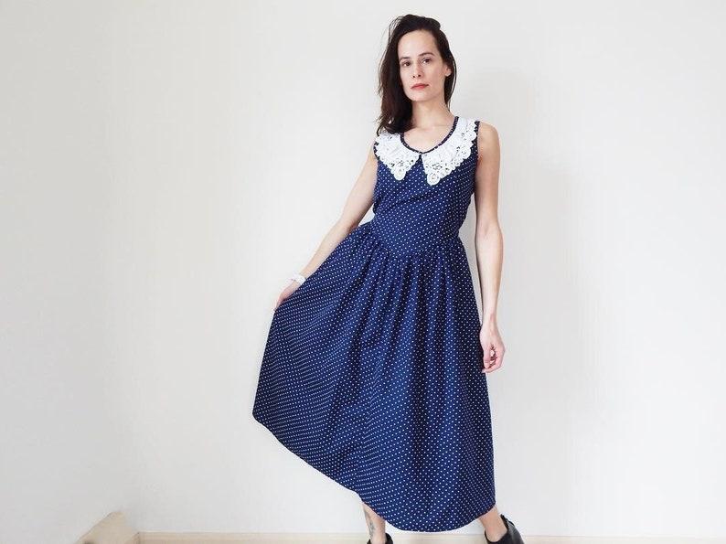 e0845aacaa9 Vintage navy blue lace collar dress polka dot dress womens 80s