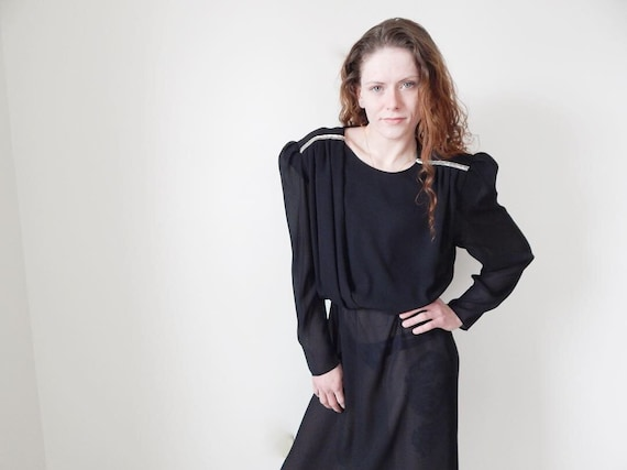 vintage 80s black sheer long sleeve dress puff sle