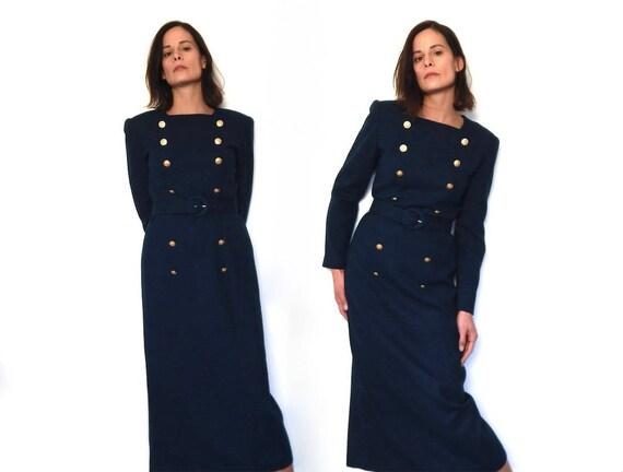 Vintage 90s Navy Blue Nautical Military Dress Long Sleeve Etsy