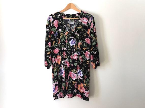 vintage 90s black floral romper womens romper blac