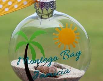 Ornament - Beach - Add your sand and seashells -Honeymoon/Vacation Keepsake