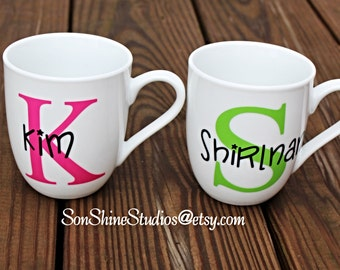 Personalized Coffee Mug - Name over Lg Initial