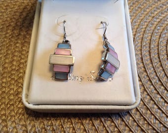 Vintage Sterling Silver Geometric Earrings with Semi Precious Stones