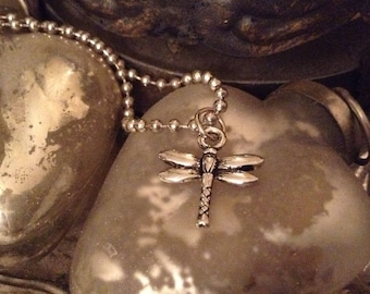 Silver Dragonfly Charm on Ball Chain Necklace