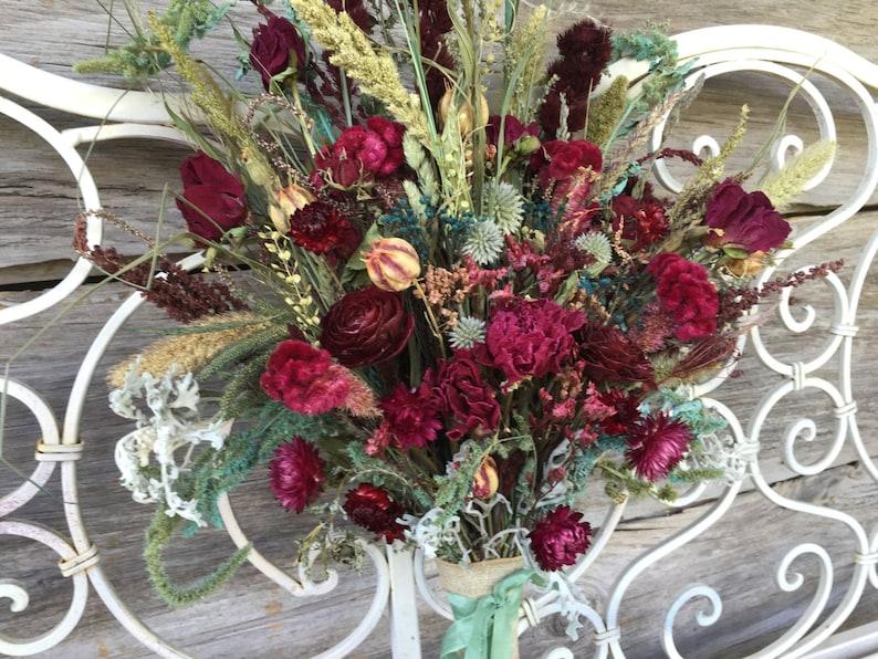 Victorian Bridal Bouquet Wedding Dried Flower Burgundy Peony Rose Love In Mist Blue Green Natural Strawflower Magentia