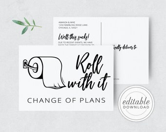 Roll with it Change of plans Card, Postponed Wedding, Wedding Date Change, Our new date card, Change the date, Printable, Digital Download