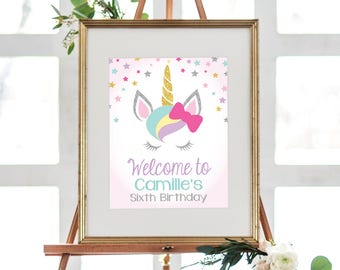 """INSTANT DOWNLOAD - Unicorn Welcome Sign Printable, Unicorn Editable Welcome Sign - Birthday Sign, Welcome Sign, 8x10"""" OLDP10"""