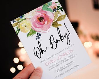 INSTANT DOWNLOAD - Oh Baby Shower Invitation, Floral Baby Shower Invitation Printable, Baby Girl,Floral Girl Baby Shower Invitation, OLDP350