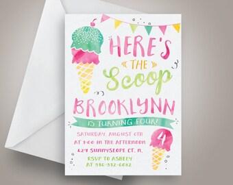 Here's the scoop ice cream Birthday Invitation, Ice cream Birthday Invitation, Pink, teal and green Birthday, summer birthday invite