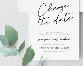 Change the Date Card, Postponed Wedding, Wedding Date Change, Our new date card, Editable Text, Printable, Digital Download