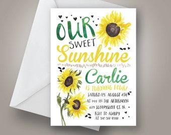 Our Sweet Sunshine Birthday Invitation, Sunflower Birthday Invitation, Yellow and green Birthday, Summer birthday invite