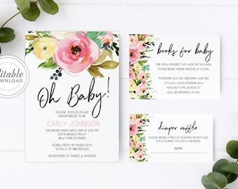 Oh Baby Shower Invitation, Baby Shower Invitation Girl, Baby Shower Invitation, Floral Baby Shower Invitation, Digital Download- Carli