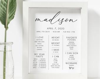 Elyse - First Birthday Milestone Sign, Minimalist Milestone Board, Baby Milestone Board, Modern Milestone Poster Instant, Digital Download