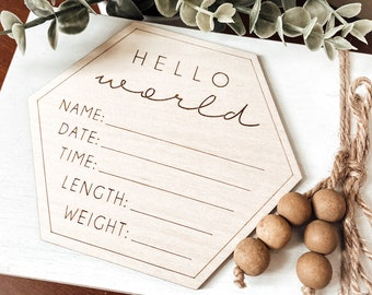 Hello World Hexagon Birth Announcement, New Baby Sign, Custom Wood Sign, Wood Birth Stats Sign, Milestone Sign, Baby Photo Prop, New Mom