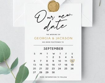 Our new date card, Change the Date Card, Postponed Wedding, Wedding Date Change, Editable Text, Printable, Digital Download