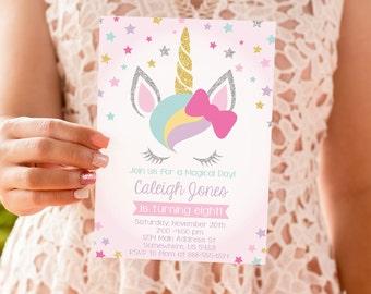 INSTANT DOWNLOAD - Unicorn Birthday Invitation, Rainbow Magical Birthday Invitation, Cute Unicorn Birthday Party, OLDP10