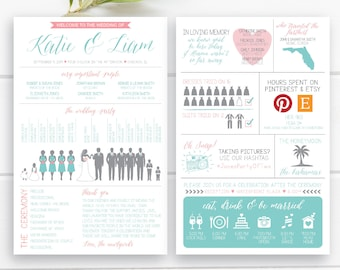 """Fun Info Graphic Wedding Program with silhouettes - Front & Back Vertical Layout, Infographic, 5.5""""x8.5"""", Design 27"""