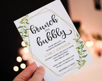 INSTANT DOWNLOAD - Greenery brunch and bubbly shower Invitation, Leaf Invitation, geometric, gold greenery, bridal shower invitation OLDP300