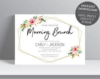 INSTANT DOWNLOAD - Floral Wedding Brunch Invitation, The Morning After, Morning Brunch, floral greenery, Breakfast invitation, OLDP350,