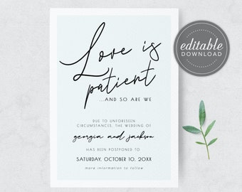 Love is Patient and so are we, Change the Date Card, Postponed Wedding, Wedding Date Change, Our new date card, Printable, Digital Download