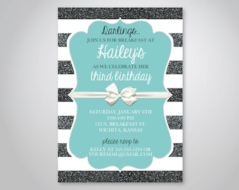 Tiffany invitations etsy breakfast at tiffanys birthday invitation tiffany birthday theme baby shower or bridal shower with bow invitation instant download filmwisefo