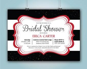 black and red bridal shower invitation erica design 5x7