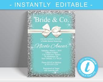 Bride & Co. bridal Shower Invitation, Breakfast at Tiffanys, White bow Theme Invitation,  Digital Download - Nicole