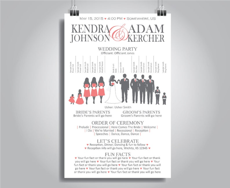 Silhouette Wedding Program - Vertical Layout - Stacked Names, Customizable,  5 5