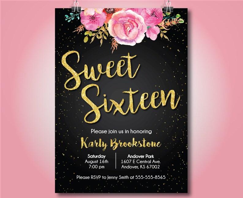 Sweet Sixteen Birthday Party Invite 16th Birthday Invite Etsy