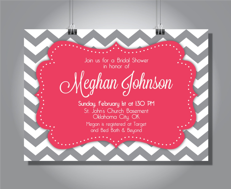 Chevron gray and pink bridal shower Invitation Meghan | Etsy