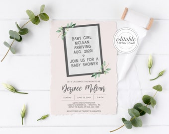Letterboard baby shower invitation, Baby Girl on the Way, Baby Girl Shower, White Letter-board, Editable, Change Colors, Digital download