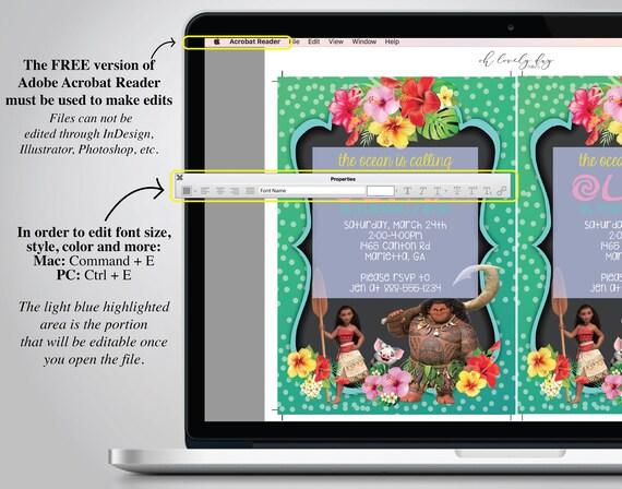Moana Invitation Card Disney Moana Invites Princess Moana Birthday Invitation Download Instantly
