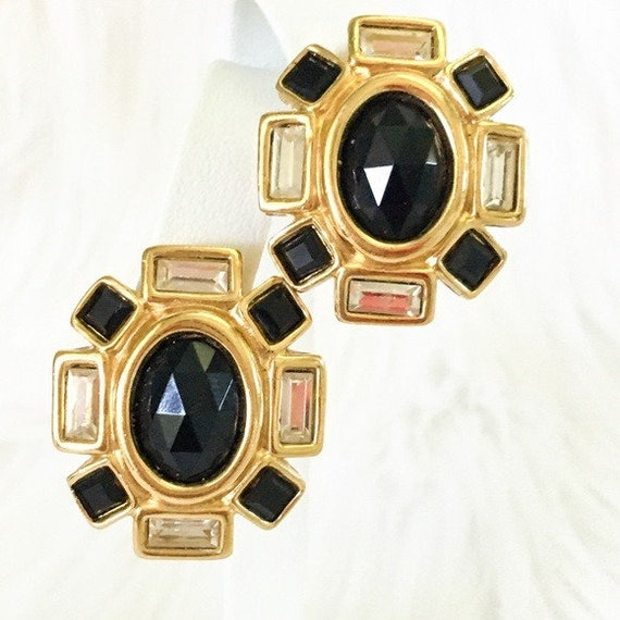 Vintage Givenchy Earrings Black Crystal Runway 198