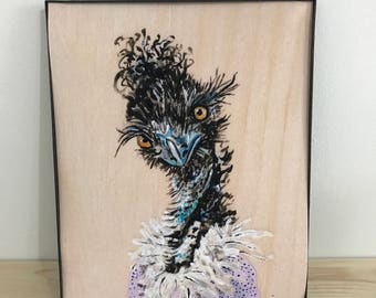 Emmu Art Print | Animal Art | Animals in Clothes | Indie Art | Nursery Art | Animal Portrait  | Emma Emu Millannial 8x10 PRINT