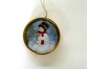 Gift for Christmas, Coworker gift idea, Holiday tree decoration, Christmas tree ornament, Snowman ornament, Tin container ornament, Ornament