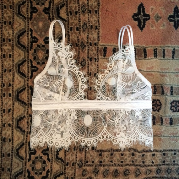 4fca100a6a White Lace Top without underwire - Chantilly lace bralette - Bridal lace top