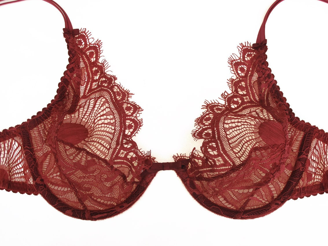 Red lace bra Soft cup bra See-through bra Dark Red lace   Etsy
