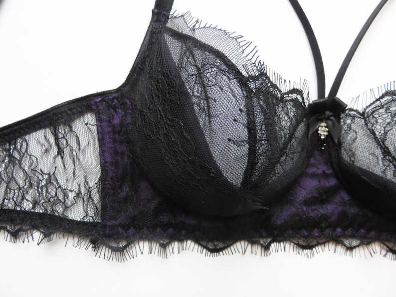 3bfb1c2a14 Lace and silk bra purple silk and black Chantilly Lace