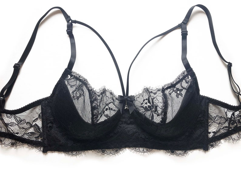 Lace and silk bra silk and black Chantilly Lace
