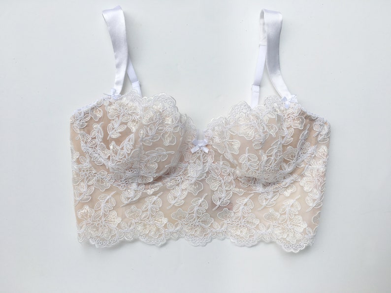 48c70e4b30e3b Bridal lace bra in white french calais lace and nude lining - longline  bralette - soft cup bra ...