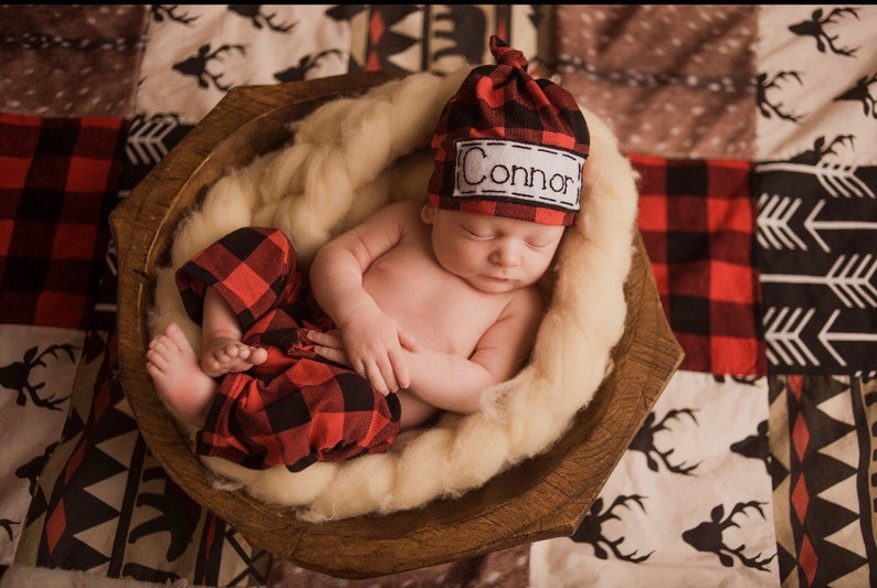 3ca3984be871e9 Buffalo Plaid Newborn Personalized hat and pants set Red and