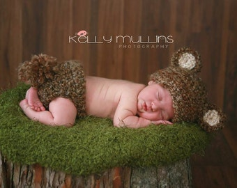 Cuddly Brown Teddy Bear Hat and Diaper cover Outfit Set newborn Photo prop