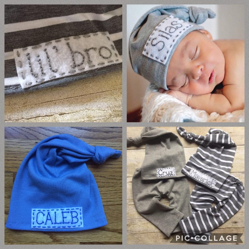 9decafb08cb Personalized newborn Baby Top Knot Hat with Name Blue gray or
