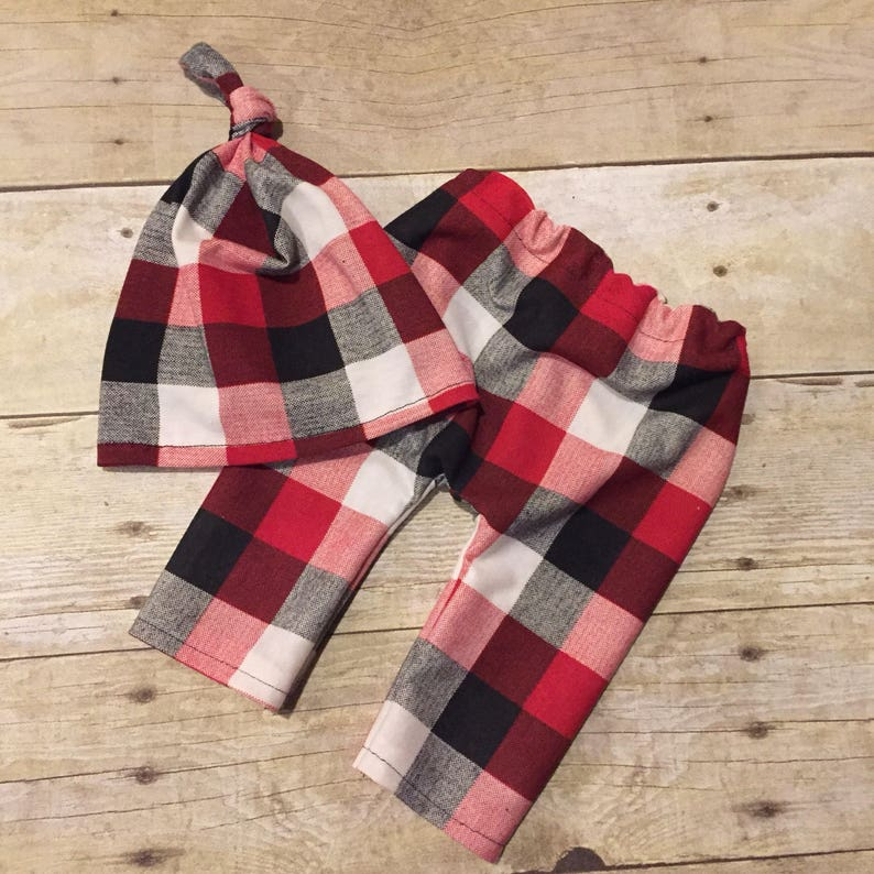 Newborn Top Knot Beanie Buffalo Plaid Red White Black Hospital hat and pants set Baby Lumberjack