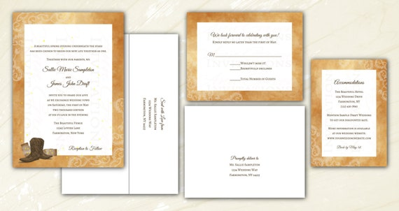 Cowboy Boot Wedding Invitations: Rustic Country Wedding Invitations. Cowboy Boots Mason