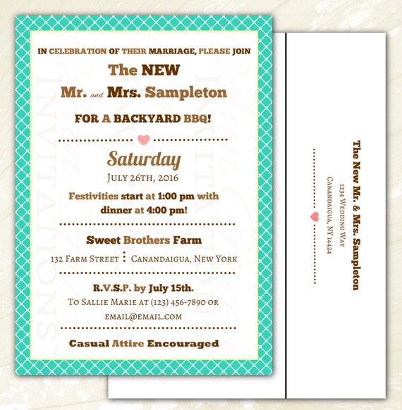 After Wedding Party/BBQ Invitations On Linen Card Stock