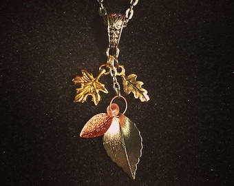 Cluster charm necklace: autumn leaves, back to work, maple leaf, autumn lover