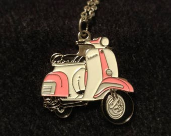 Charm necklace: Italian scooter charm. 35 mm x 35 mm pink and white Vespa.