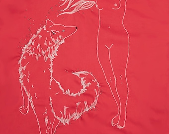 Red dress, hand-embroidered, white wolf, wolf woman, beads