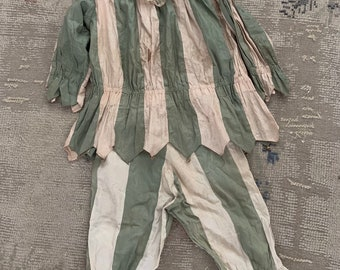 a246606b4c6f RARE antique pink green jester theater costume bells clown pierrot collar  child shabby French Nordic chic lace